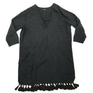 Rails Elena Dress M V-Neck Tassel Details Linen